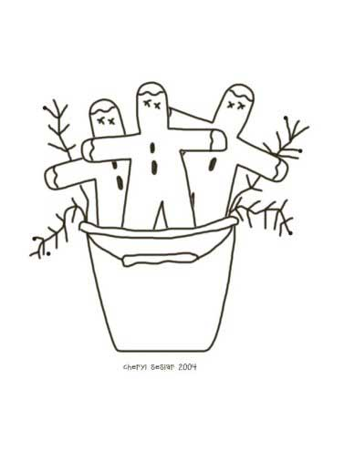 Bucket of Gingers - Gingerbread Coloring Page