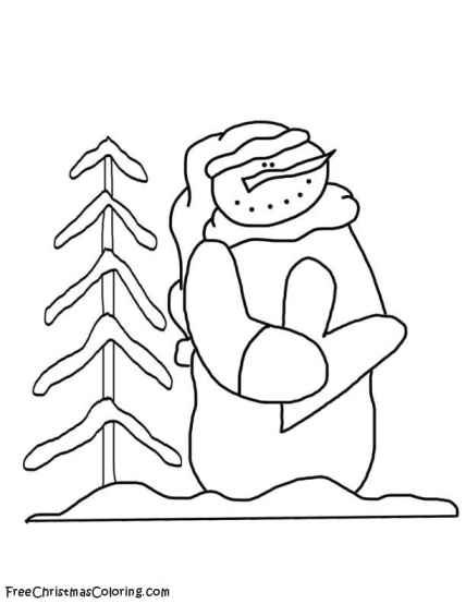Snowman Coloring Page In The Meadow Snowman