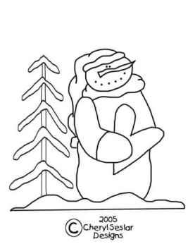 In the Meadow Snowman Coloring Page