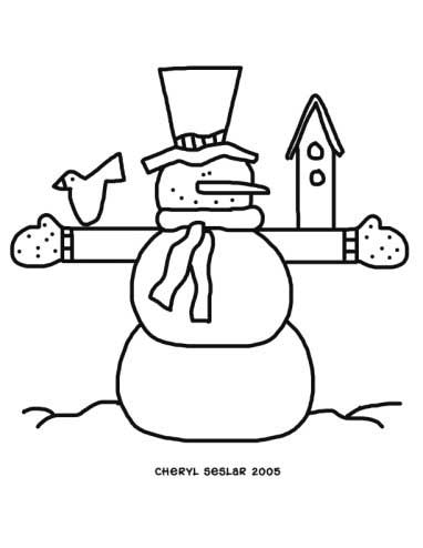 Jolly Snowman Coloring Page