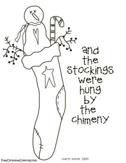 christmas coloring pages chimney stocking - photo#34