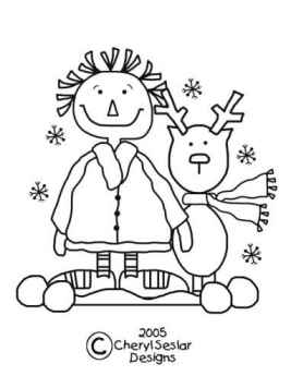 Snowball Pals - Christmas Annie Coloring Page