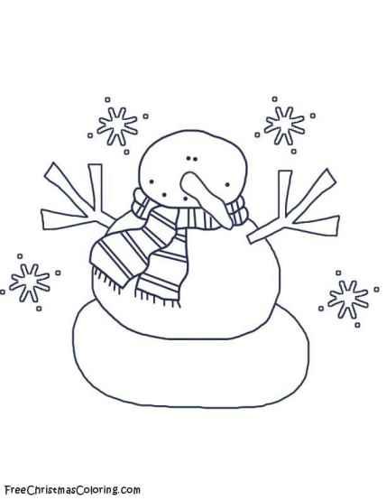 Snowman coloring page snowflake snowman
