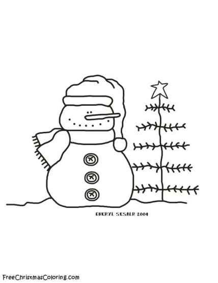Snowman Coloring Page Snowman And Christmas Tree Tree And Snowman Coloring Pages