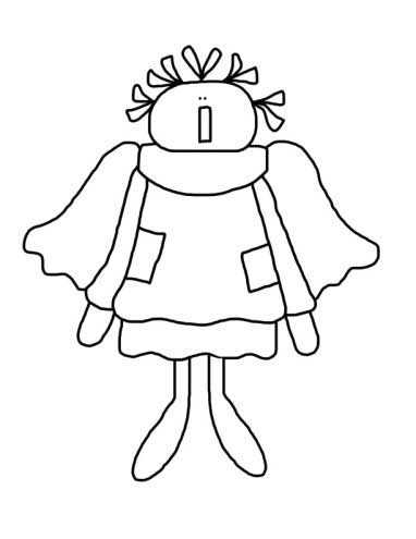 Tattered Annie Angel Coloring Page