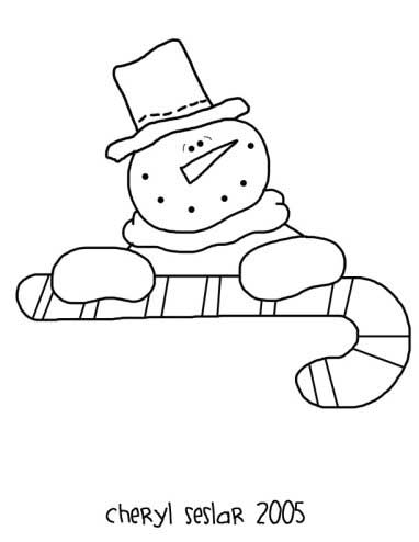 The Candy Man Snowman Coloring Page