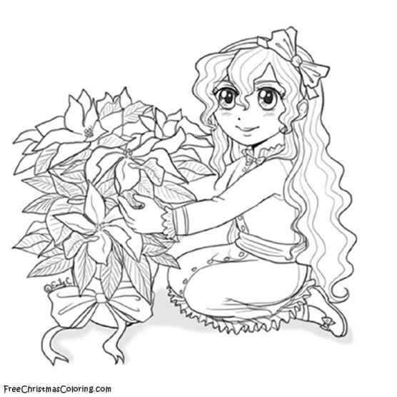 Lizzy Poinsettia - Anime Sketch to Color