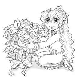 Lizzy Poinsettia Anime Sketch to Color