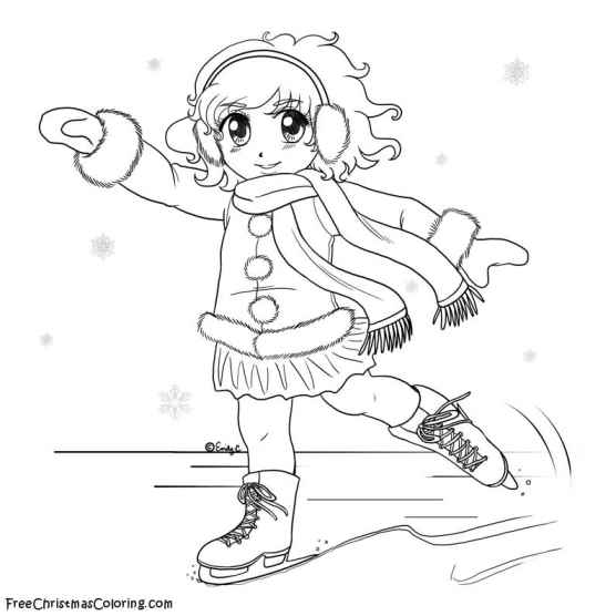children ice skating coloring pages - photo#12