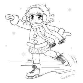 Molly Ice Skating - Anime Coloring Page