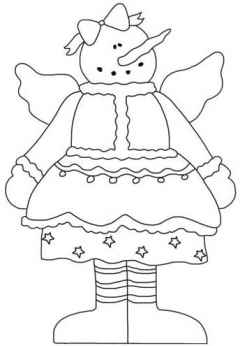 Snow Angel with Bow Coloring Page