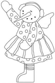 Snow Angel with Ear Muffs Coloring Page