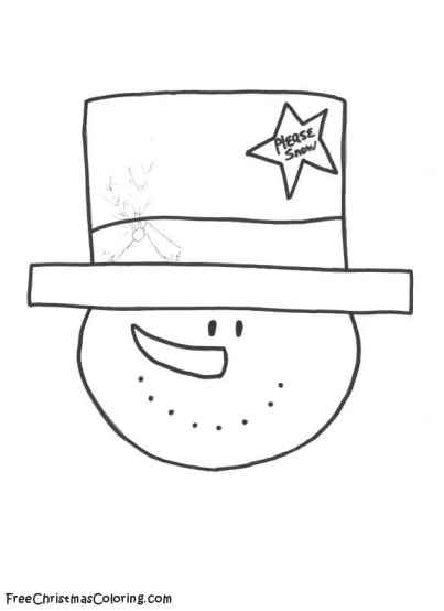 snowman tophat coloring pages - photo#2