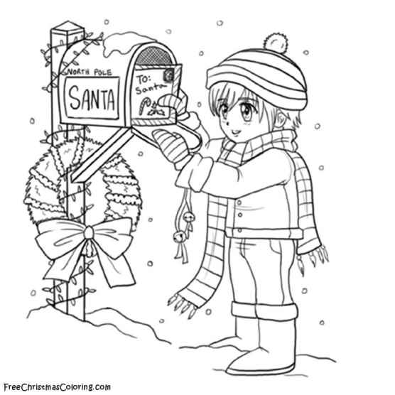 Coloring Pages Letters To Santa : Timothy and santa s letter christmas coloring page