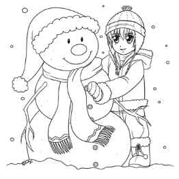 Timothy and Snowman Coloring Page